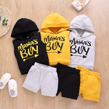 2pcs Baby Boy Sleeveless Cotton Hooded  Street style Letter Baby's Sets