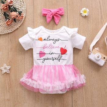 2-piece Baby Sweet Cat Print Tulle Dress Romper with Headband Set