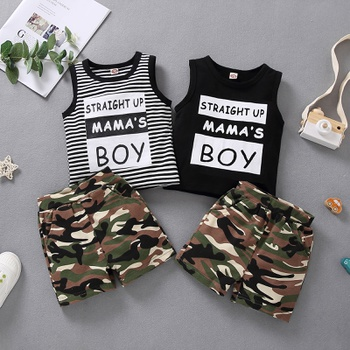 2-piece Baby / Toddler Boy Striped Letter Vest and Camouflage Shorts Set