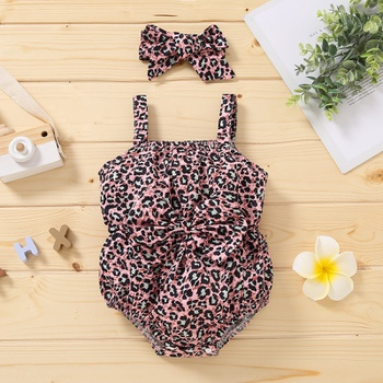 2-piece Baby Leopard Bowknot Strappy Romper with Headband Set
