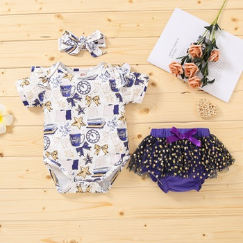 3pcs Baby Girl Short-sleeve Stylish Romper