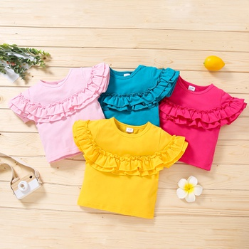 1pc Baby Girl Short-sleeve Solid Sweet Floral Tee