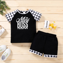 2pcs Toddler Boy Short-sleeve Cotton Letter Plaid Toddler's Sets