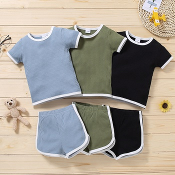 2pcs Toddler Boy Cotton Short-sleeve Shorts Suit casual Toddler's Sets