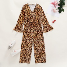 Trendy Leopard Print Flared-sleeves Bowknot Jumpsuit