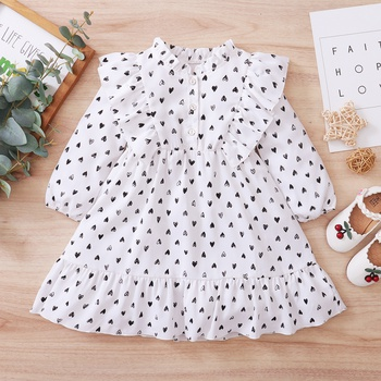 Baby / Toddler Heart Pattern  Ruffled Dress
