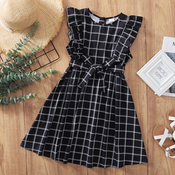 Beautiful Kid Girl Ruffle-sleeve Plaid Dress