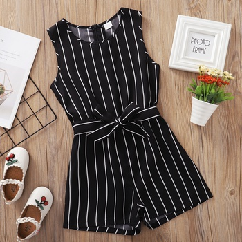 Kid Girl Pinstriped Sleeveless Black Rompers