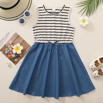 Pretty Kid Girl Casual Denim Dress