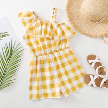 Pretty Kid Girl One Shoulder Yellow Plaid Rompers