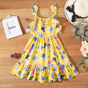 Pretty Kid Girl Flounced Butterfly Floral Print Dress