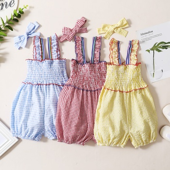 Toddler Girl Plaid Print Tight  Romper And Bowknot Headband