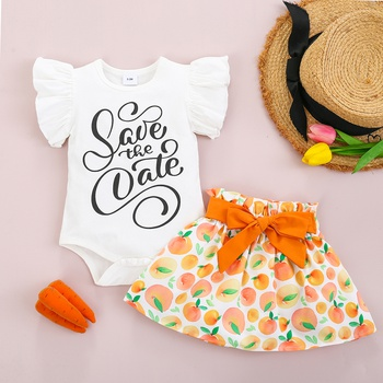 2pcs Baby Girl Fruit Flutter-sleeve Solid Romper Sweet Suit-dress