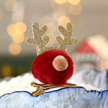 Pet christmas headdress hair ball antler hairpin