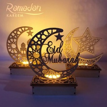 Wooden DIY Muslim Islamic Palace LED Eid Mubarak Decoration Decoration Star Moon Wood Islamic Mosque Plaque DIY Home Decor