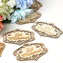 10PCS Home Decor Eid Mubarak Wooden Crafts Pendants Ramadan Hanging Ornament Party Decorations