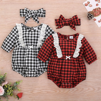 Baby Girl casual Plaid Lace Bodysuits