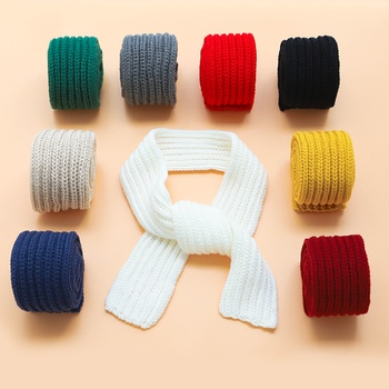 Kid Solid Warm Knitted Scarf