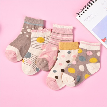 5-pack Baby / Toddler / Kid Polka Dots Knitted Socks