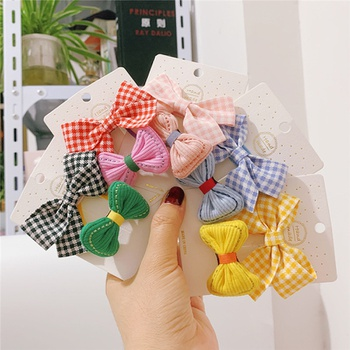 2-piece Pretty Grid Bowknot Hairband for Girls