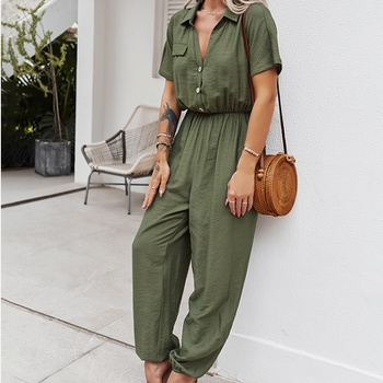 Chic Pocket V Neck  Jumpsuit