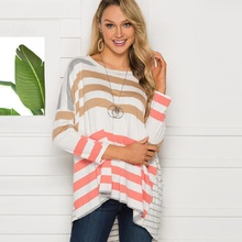Pretty Striped Color block Long-sleeve Top For women