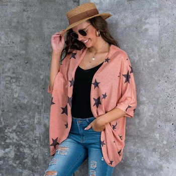Casual Star Print Cardigan Coats