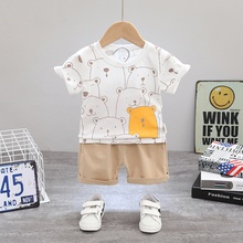 2pcs Cotton Short-sleeve Baby Boy casual Animal Baby's Sets