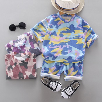 2pcs Baby Boy casual Camouflage Short-sleeve Cotton Baby's Sets