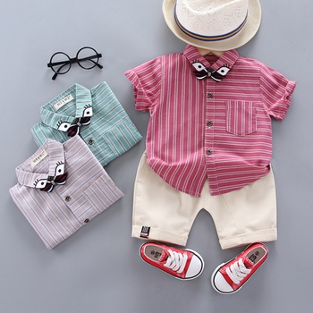 2pcs Baby Boy Short-sleeve Cotton Casual Stripe Baby's Sets