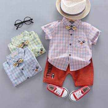 2pcs Baby Boy casual Plaid Short-sleeve Cute Cotton Baby's Sets