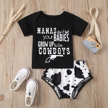 2pcs Baby Girl casual Letter Short-sleeve Cotton Baby's Sets