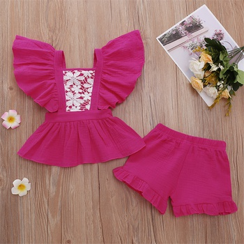 2pc Baby Girl Solid Embroidery Flutter-sleeve Cotton Summer Top Solid Shorts Set