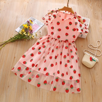Beautiful Kid Girl Strawberry Mesh Dress