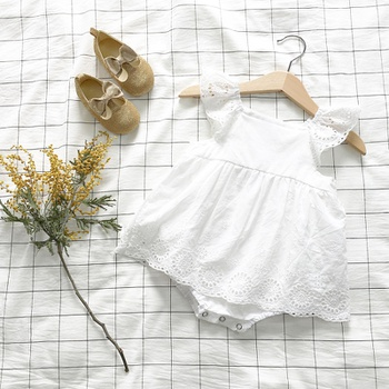 Sweet Lace Eyelet Angle-sleeve Bodysuit in White for Baby Girls