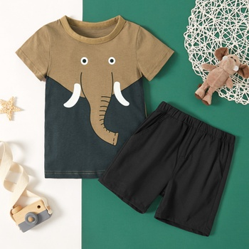 2-piece Toddler Boy Elephant Tee and Shorts Set