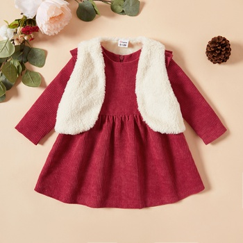 Baby Girl Floral Dress and Fluffy Jacket Set