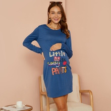 Maternity Christmas Round collar Letter  Litooffset print T-shirt