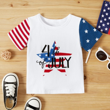 Toddler Flag Print Letter Tee of Independence Day