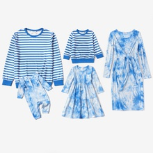Mosaic Cotton Family Matching Blue Series Sets(Hip Dresses- Striped Tops-Rompers)