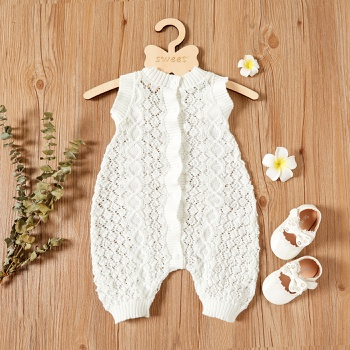 Baby Sleeveless Knitted Solid Casual Jumpsuit