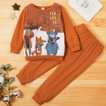 2-piece Toddler Boy Animal Cartoon Pattern Pullover and Solid Casual Pants Set