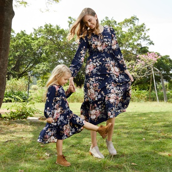 Mommy and Me Floral Long-sleeve  Dresses