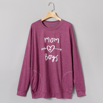 Round collar Litooffset print long sleeve normal Pullover