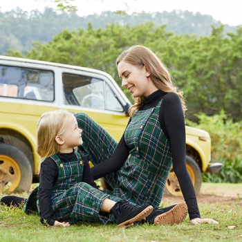 Plaid Tank Jumpsuits for Mommy-girl-baby
