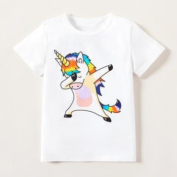 Trendy Kid Girl Cartoon Unicorn Short-sleeve Tee