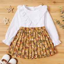 2-piece Baby / Toddler Ruffled Solid Top and Floral Pleated Skirt Set