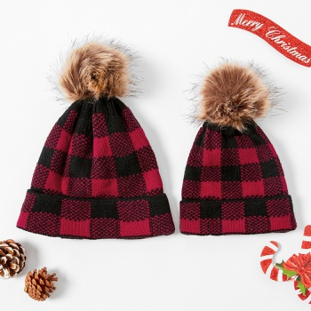Mommy and Me Christmas Plaid Hairball Hats