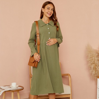 Maternity Polo collar Plain Knee length A Long-sleeve Dress