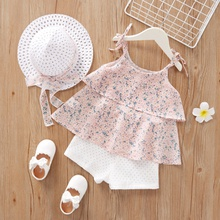 Ruffle Strap Blouse and Shorts and Hat Set